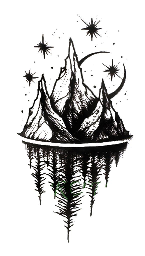 Photo of Acaia Small Black and White Nature Mountain Trees & Stars Temporary Tattoos