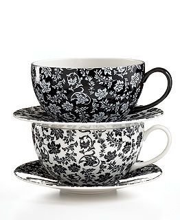 579293f77ef LOVE! Martha Stewart Collection - Black and white tea cup and saucer ...