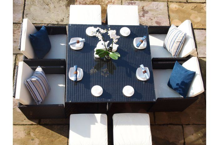 Rome Cube Rattan Garden Furniture  Seat Dining Set WITH FREE