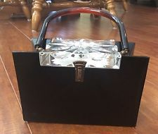 LLEWELLYN LUCITE Purse Handbag Black With Clear Carved Lid