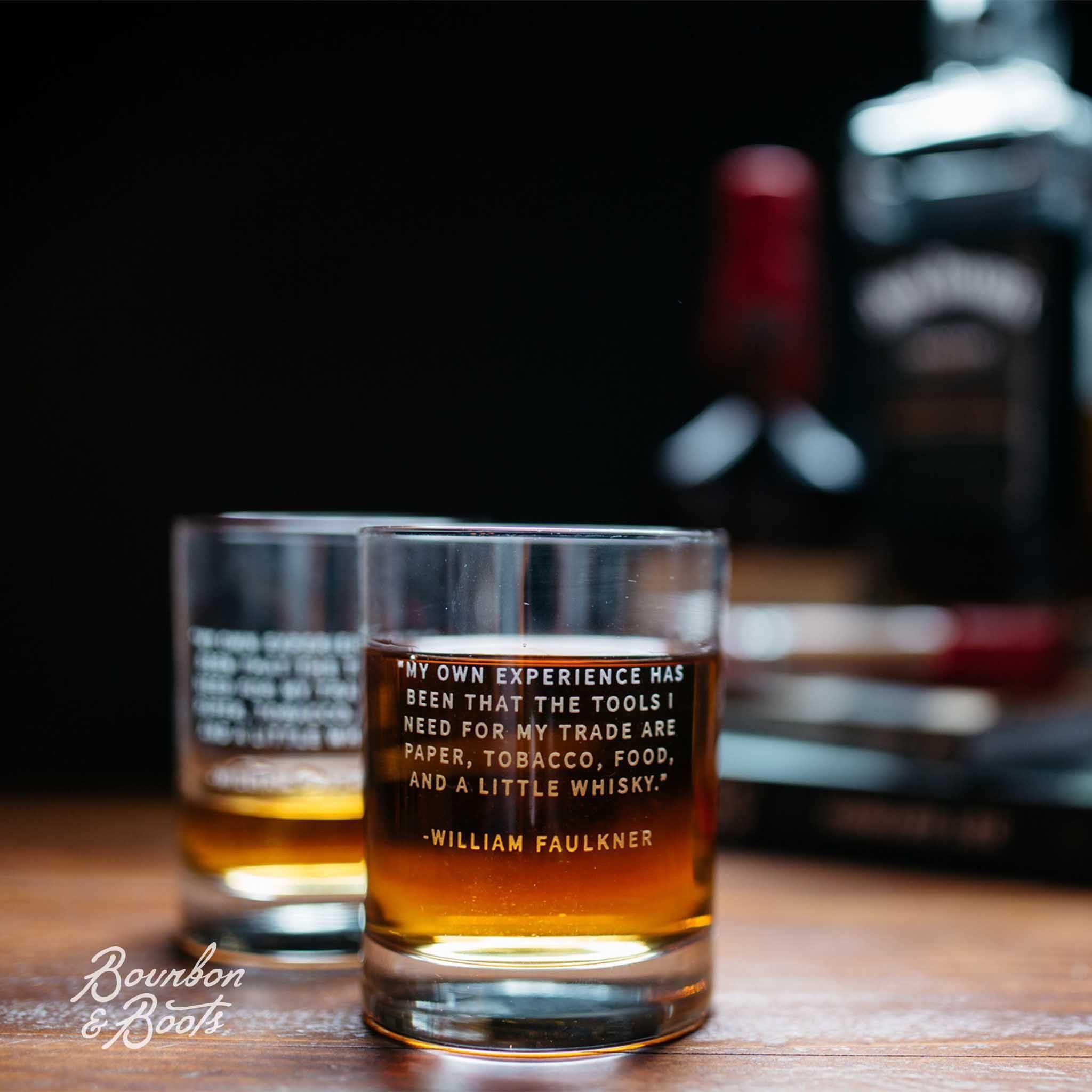 William Faulkner Whiskey Legend Rocks Glass Set