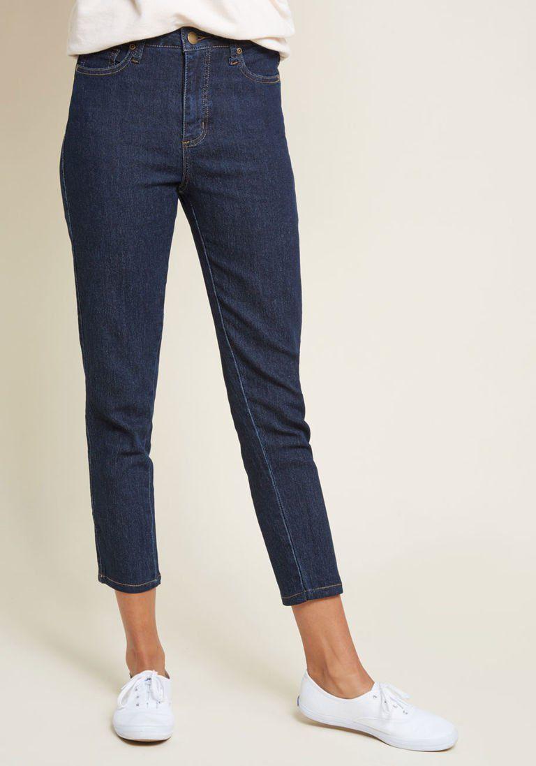 b6891b1a1708 Karaoke Seamstress Zipped Skinny Jeans in Dark Wash - 26 in. in 4 - Skinny  Denim Pant Ankle by ModCloth