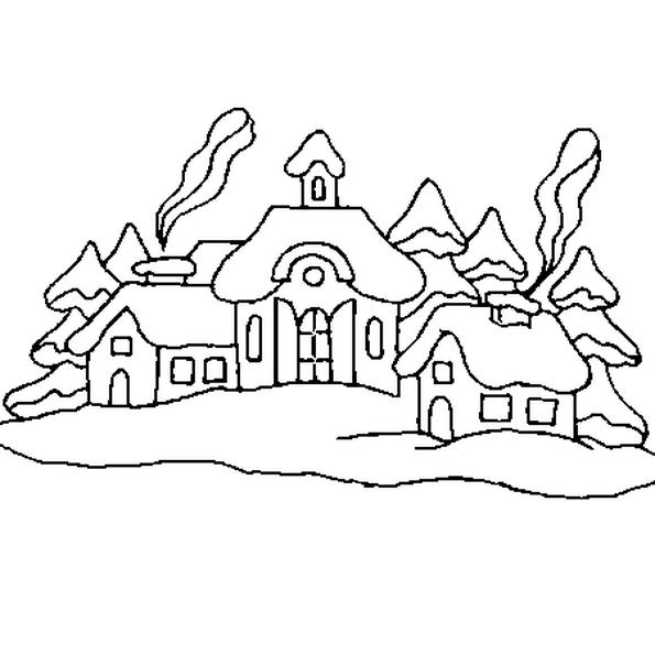 Sur le dessin le village de Noël est sous la neige. Colorie les