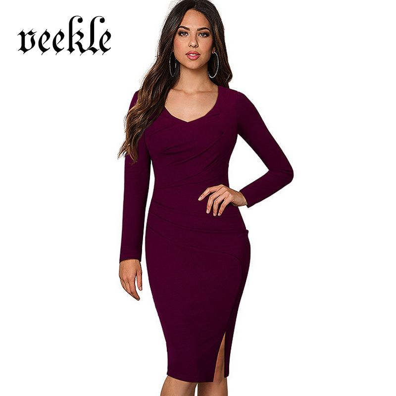 VEEKLE Elegant O-Neck Brief Dresses 2017 Spring Summer Long Sleeve ... b6f66f87da8e