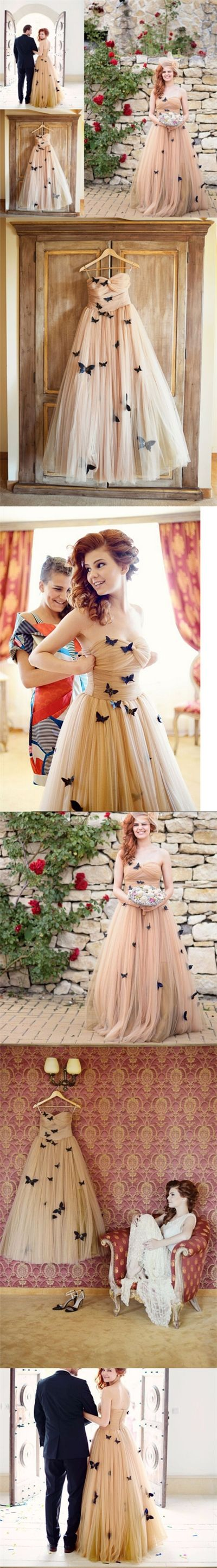Beautiful Butterfly Wedding Dresses Sweetheart Ruffles Bridal Gown JKW043