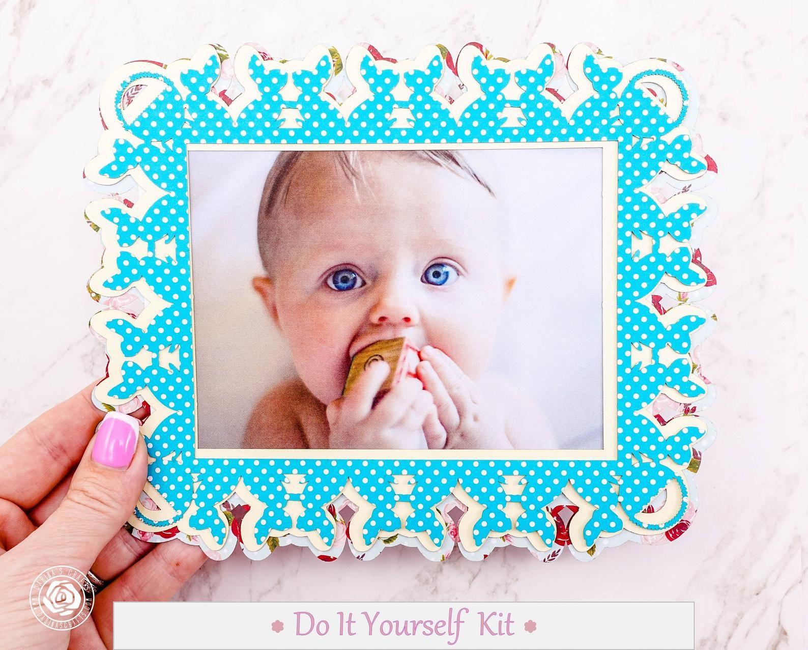 Diy Baby Boy Frame Kit Diy Scrapbook Kit With Wood Embellishments