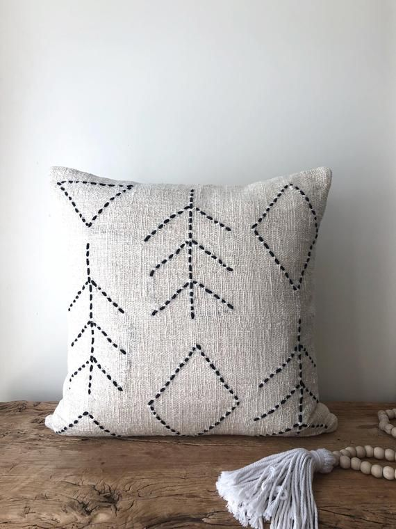 Natural Boho Raw Cotton Pillow. Organic