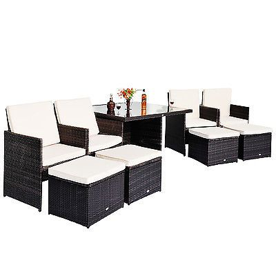 Alu Polyrattan Gartenmöbel Sitzgruppe 21 tlg. Lounge Essgruppe Sofa ...