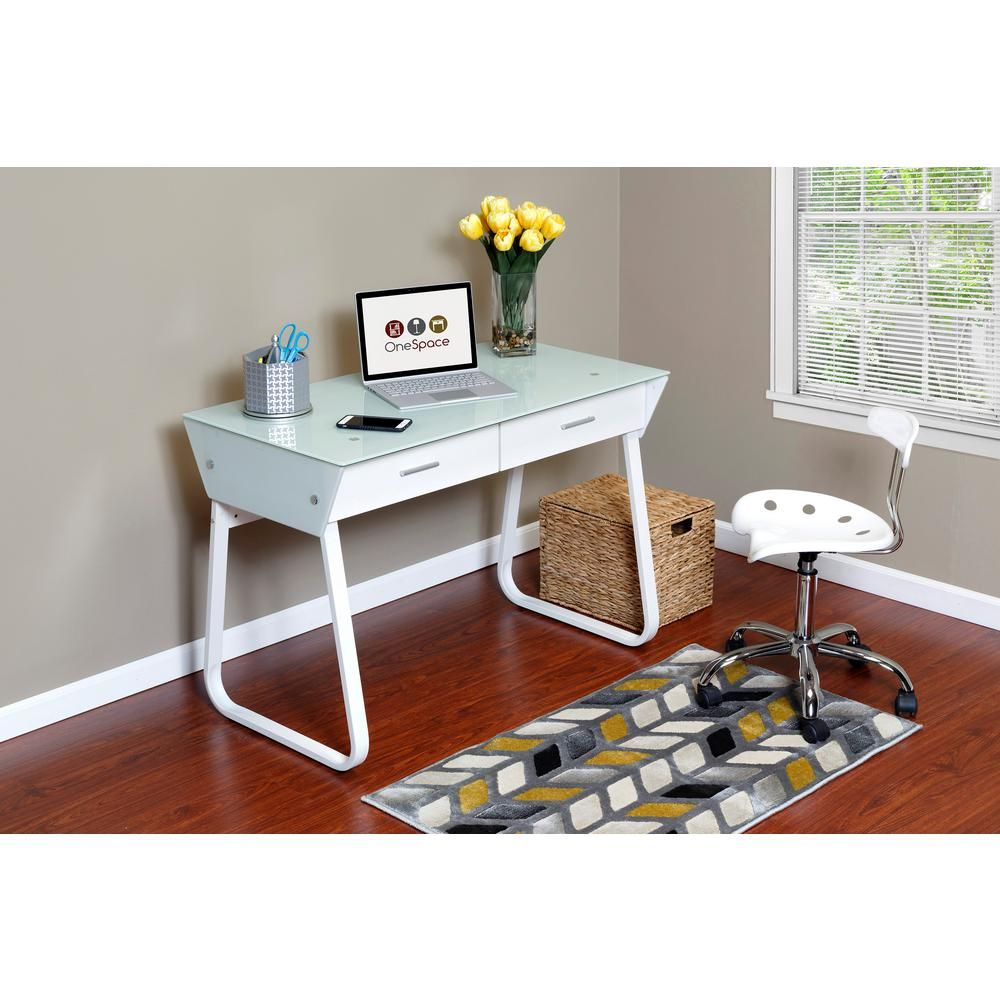 OneSpace White Ultramodern Glass Computer Desk with