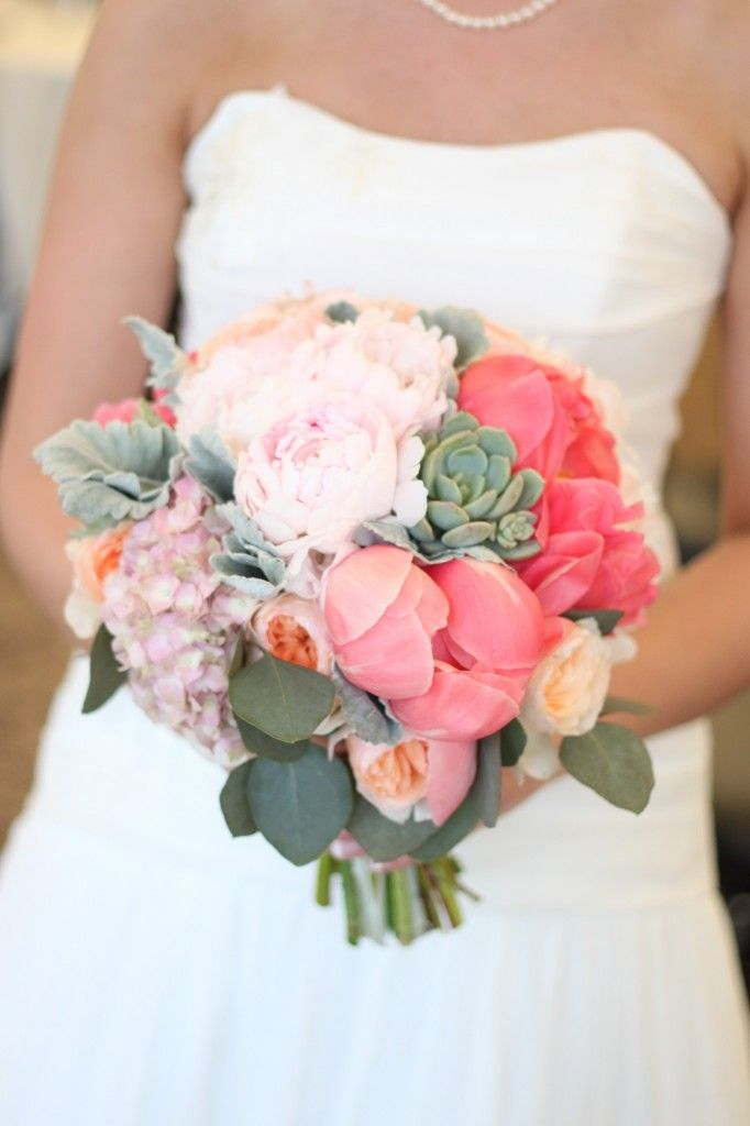 Garden Rose And Peony love the combo of coral charm peonies and succulents on the right