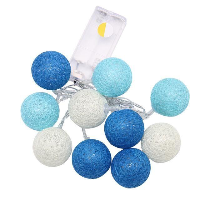 12M String Lights 10 Globes LED Cotton Christmas Ball Light Powered