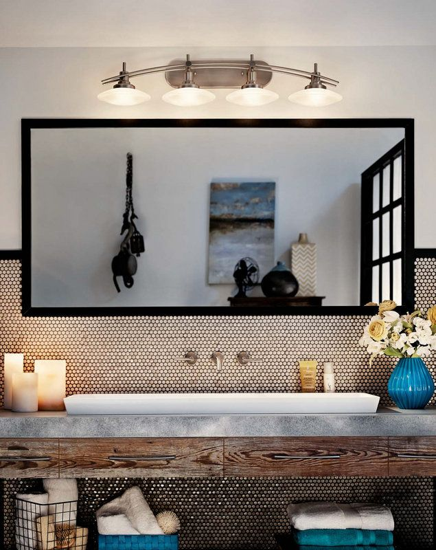 """Photo of Kichler 6464NI brushed nickel structures 4 Light 40 """"Wide Vanity Light bathroom mixer with frosted glass shades"""