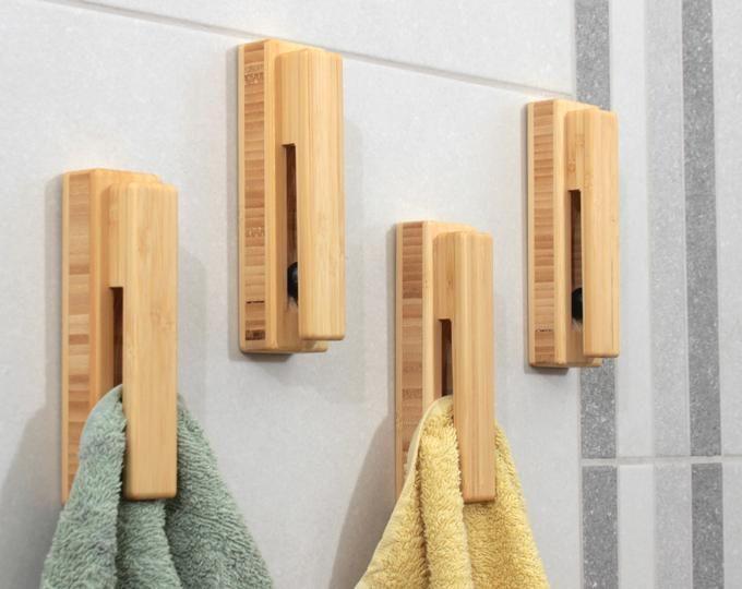 Bamboe Handdoek Houder Hout Muur Haak Badkamer Handdoek Haken Etsy Towel Holder Towel Hooks Bamboo Towels
