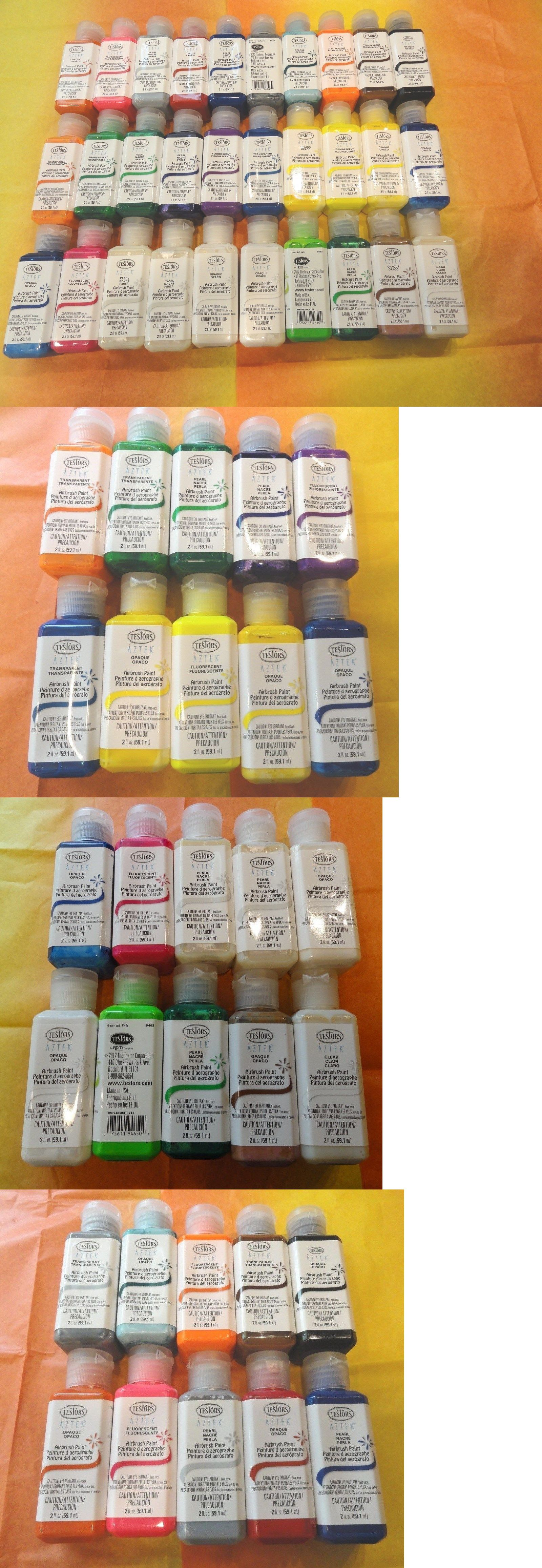 Airbrush Paints 183092: 30 Bottles Of Testors Aztek Airbrush