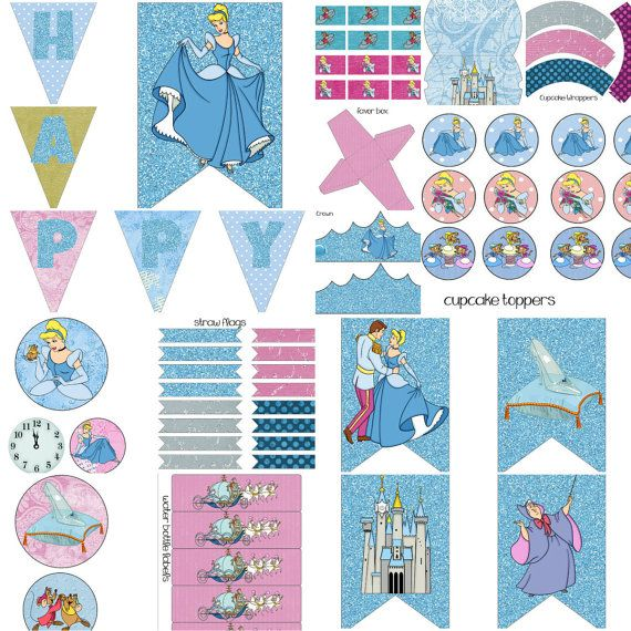 Cinderella Blue Purple and Gold Princess Birthday Party Decorations Package Digital Printables