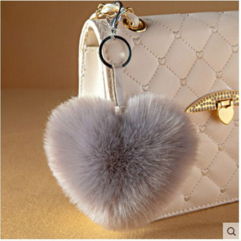 92d7f7bc99 Love Heart Fur Keychain fur pom pom Keychain fluffy keychain rabbit fur  ball keyring porte clef llaveros Key Chain For Bag Charm