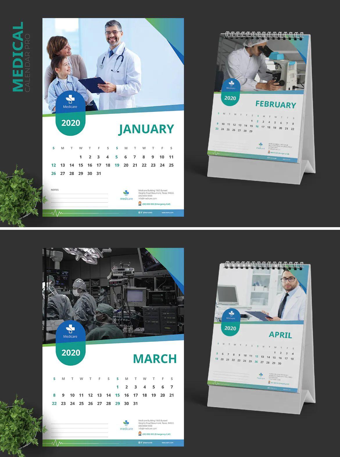2020 Clean Medical Hospital Calendar Template Vector Eps Ai Calendar Template Medical Hospital