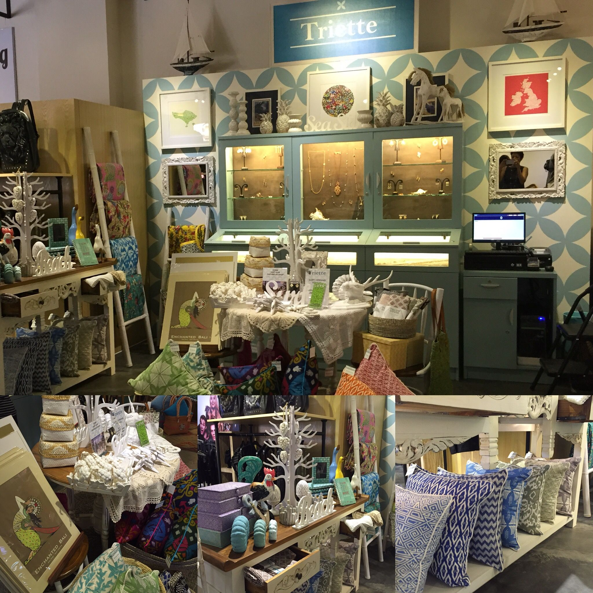 Our new kiosk at the Seminyak Village Mall.  Home decor shops
