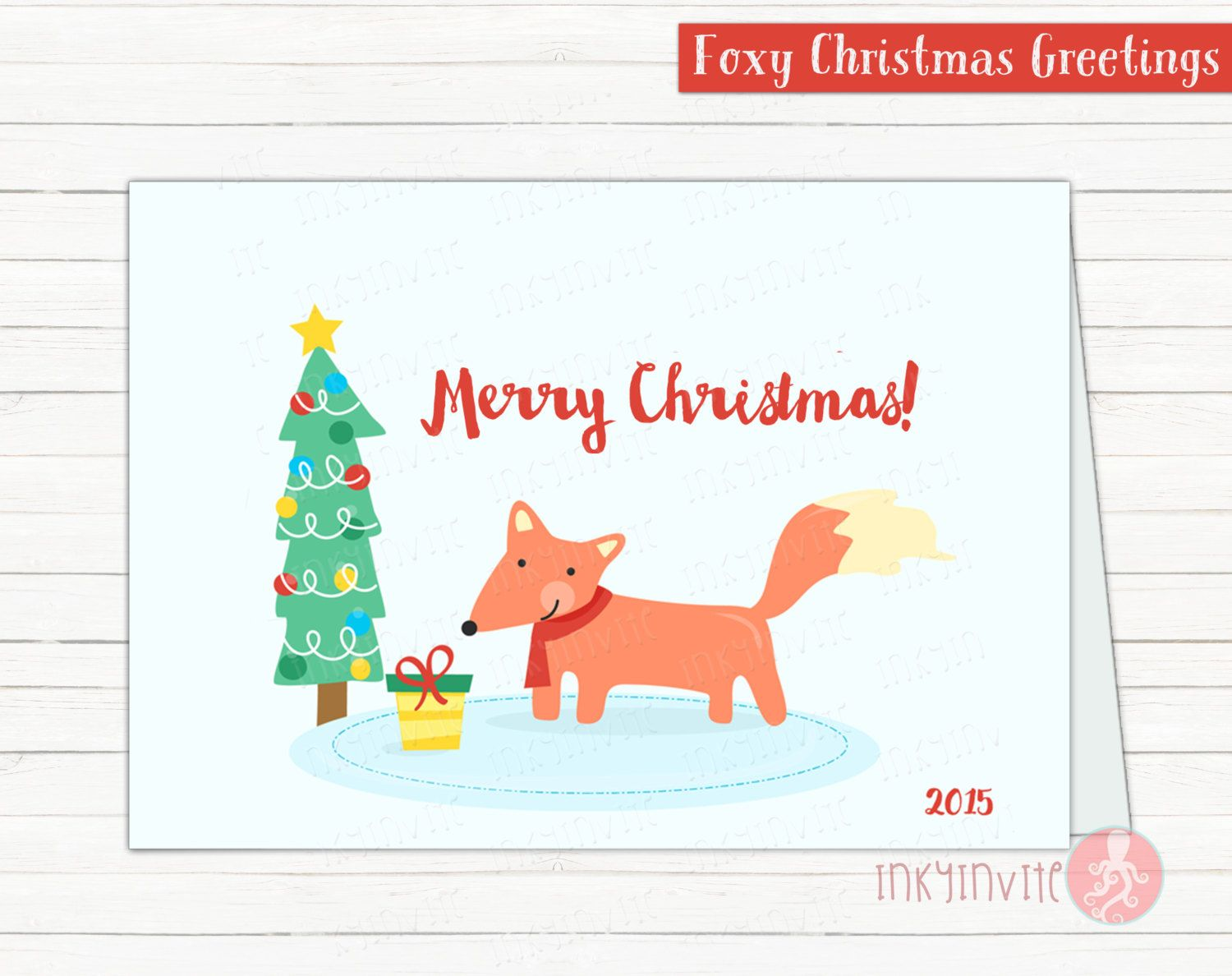 Foxy Christmas Greeting card| Bonus THANK YOU cards | Winter Thank ...