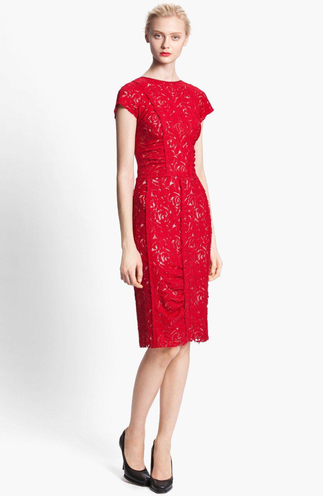 Nina Ricci Cap Sleeve Lace Dress Nordstrom