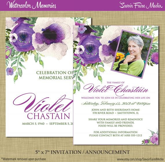 Funeral Memorial Announcement or Invitation and FREE Thank You Card
