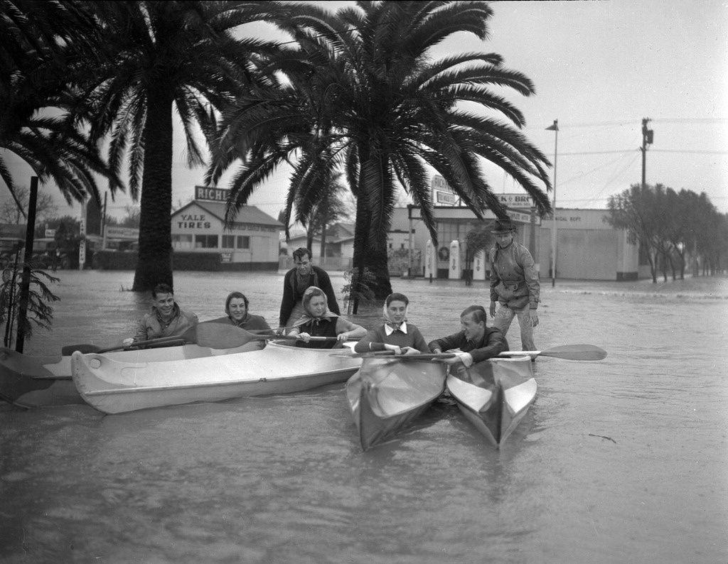 Kayak Club Posing In Flood Waters Kayaking Flood Natural Disasters