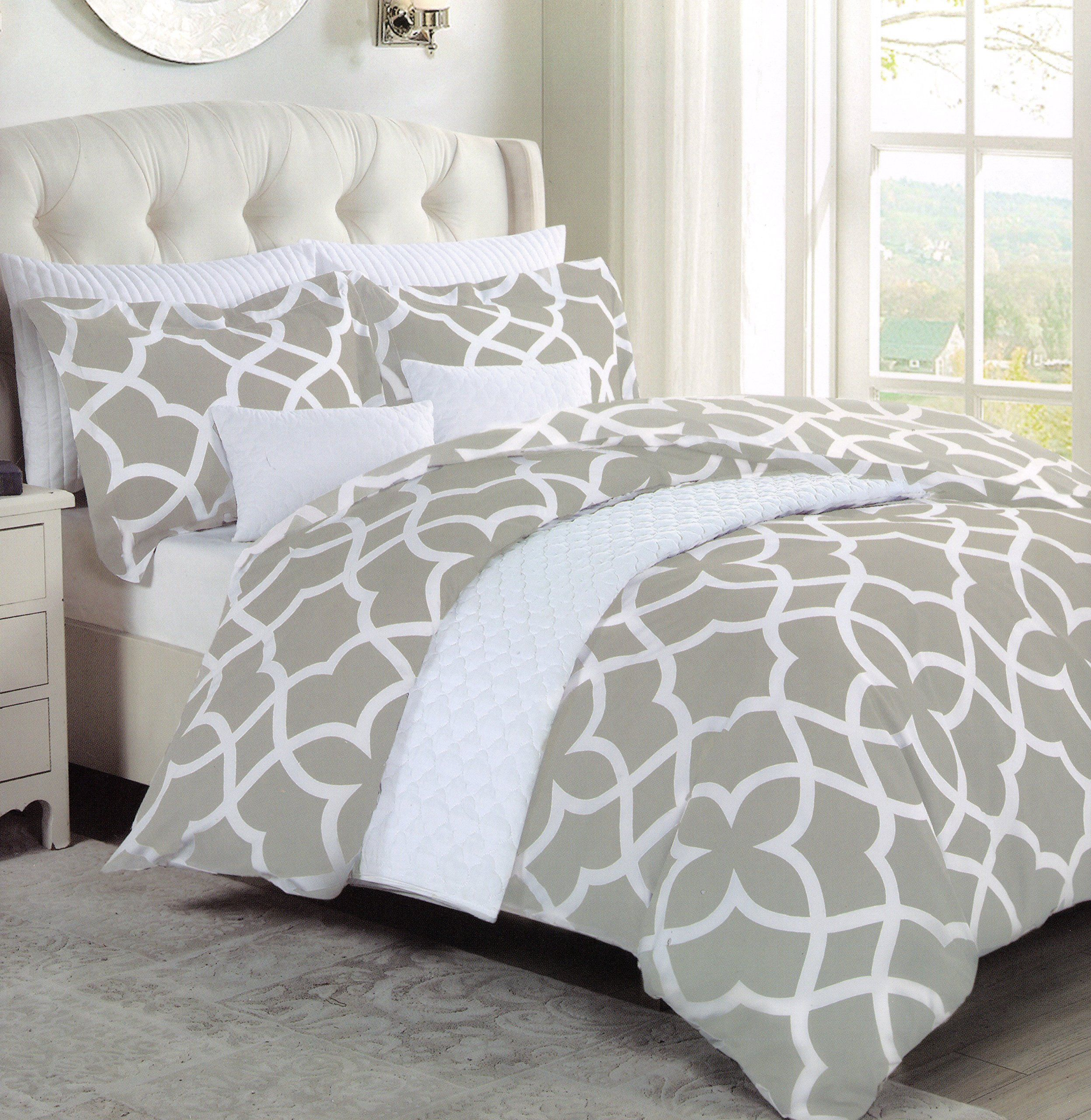 max studio jay grey modern lattice geo pattern full queen duvet cover and shams set gray white geometrical quatrefoil bedding awesome products selected