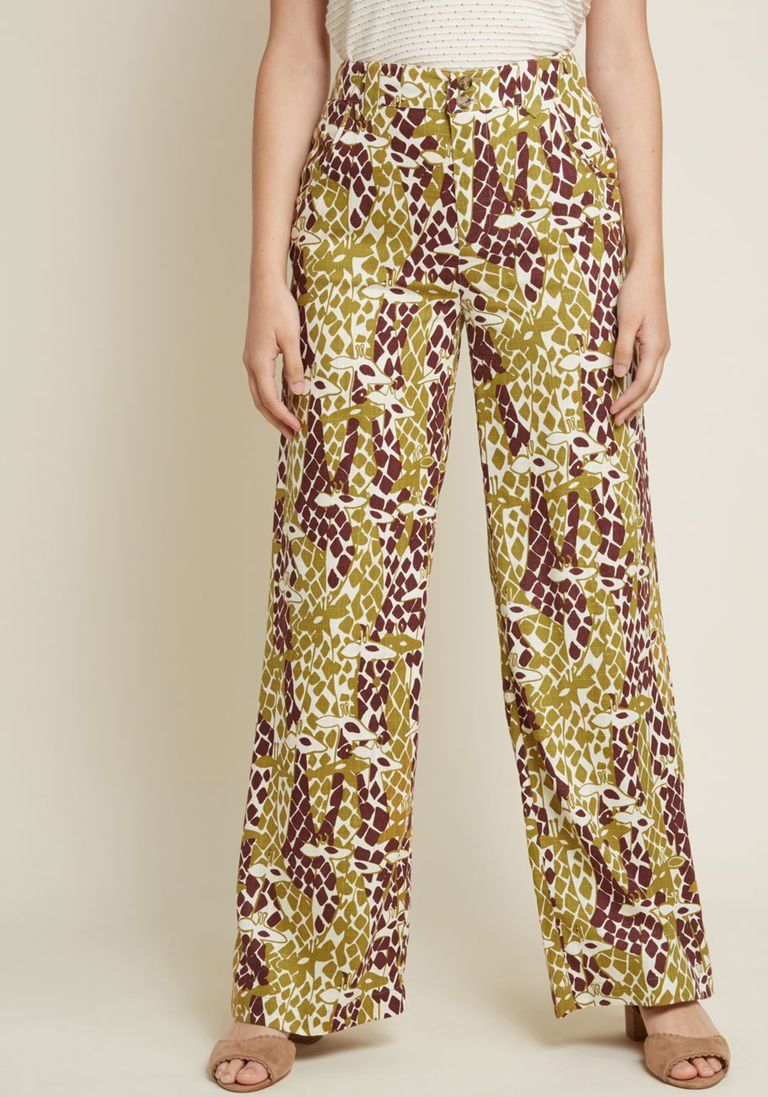 d4320a3ce694b Moment of Couth Cotton-Linen Pants in Giraffes in XS - Wide Pant Long by  ModCloth