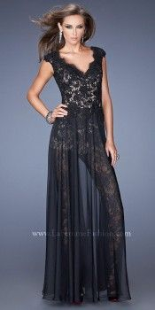 Full Body Suit with Sheer Skirt Prom Dresses by La Femme-image