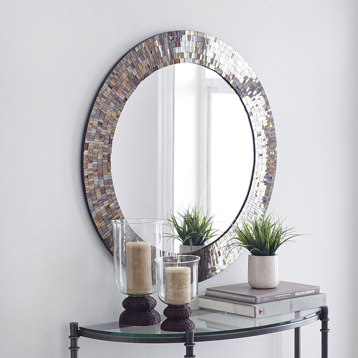 "Amber Mosaic 32"" Round Mirror 