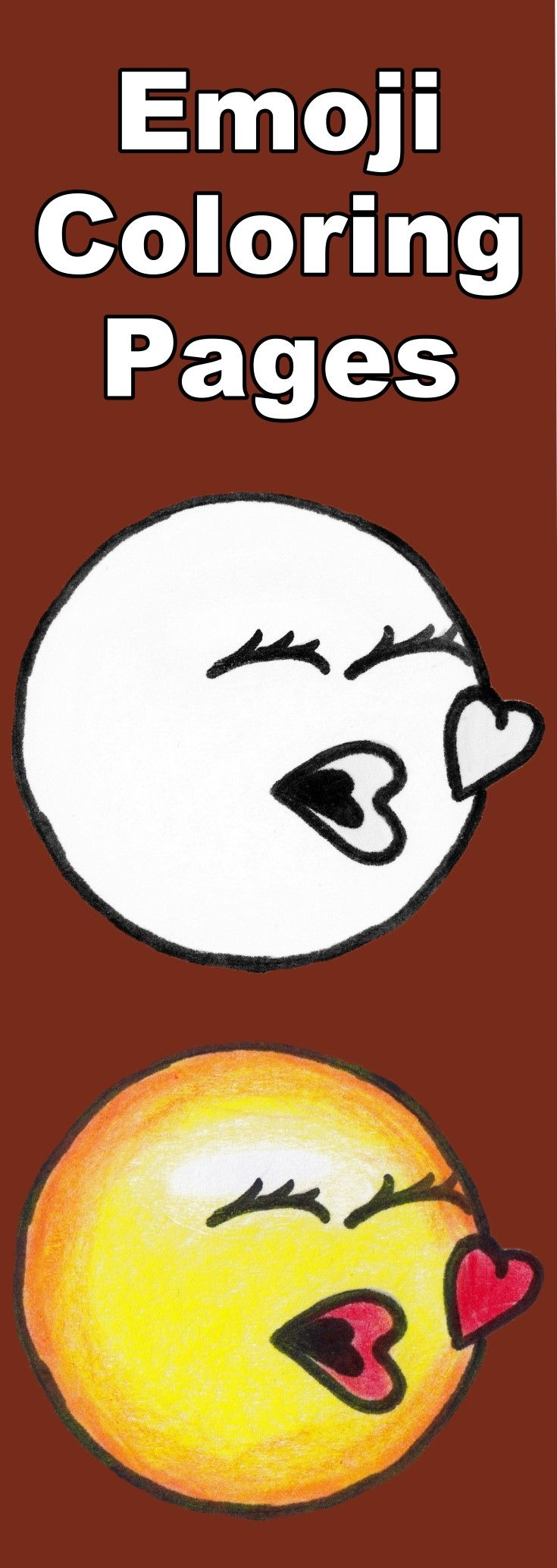 Download This Free Kissing Emoji Coloring Page For Kids Then Follow