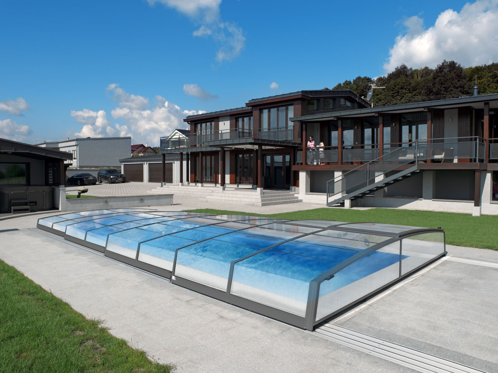 Retractable Swimming Pool Enclosure Corona  Silver Color