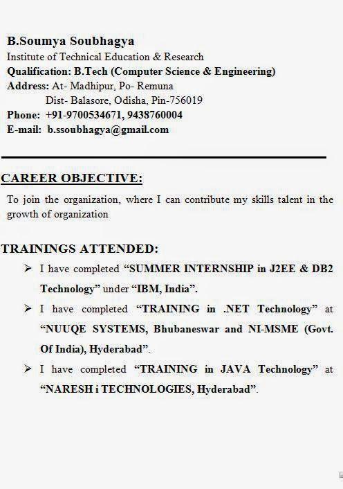 training attended in resume sample