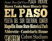 El Paso, Texas, Typography Art  Canvas / Bus  / Transit / Subway Roll Art 20X24 - El Paso's Attractions Wall Art Decoration -  LHA-184