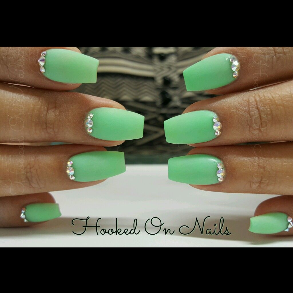 Mint nails, coffin nails, swarovski crystals, spearmint color ...