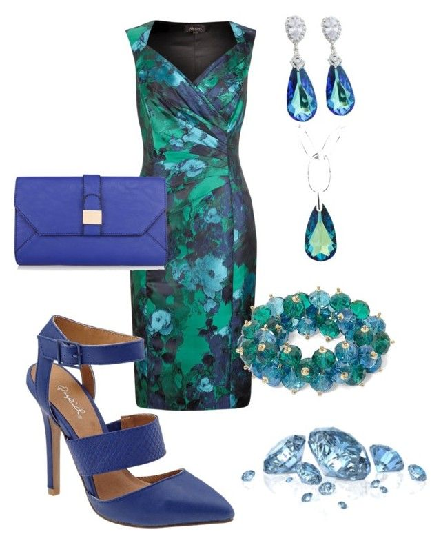 """Blue and green floral #582"" by highheelsandhotflashes ❤ liked on Polyvore featuring Alexon, Qupid, Warehouse and Jon Richard"