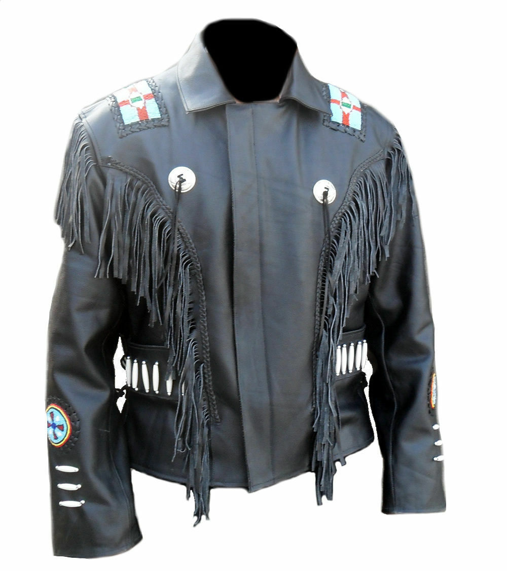 Men Black Cowhide Leather Native American Jacket Fringed And Beaded Coat Theleatherable Theleatherable Brownj Leather Jacket Jackets Native American Jackets [ 1126 x 1000 Pixel ]