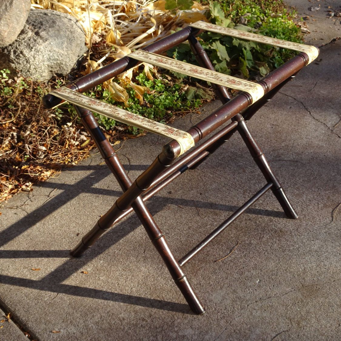 Vintage Wooden Folding Luggage Rack With Ribbon Straps | Fold Out ...