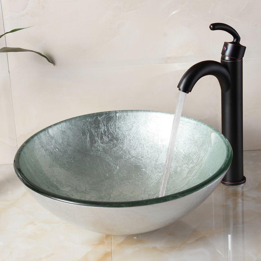 Elite bathroom sinks - Elite 1308 882002 New Tempered Glass Silver Bathroom Vessel Sink And Faucet Combo Overstock