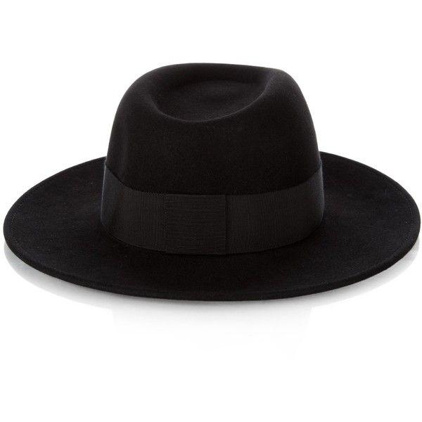 Maison Michel Thadee showerproof fur-felt hat (€530) ❤ liked on Polyvore featuring accessories, hats, maison michel hats, felt crown, crown hat, felt hat and maison michel