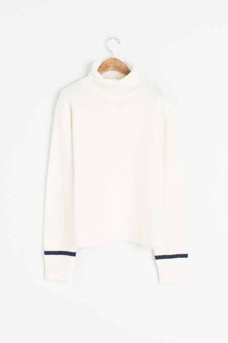 Colour Point Sleeve Roll Neck Jumper, Ivory