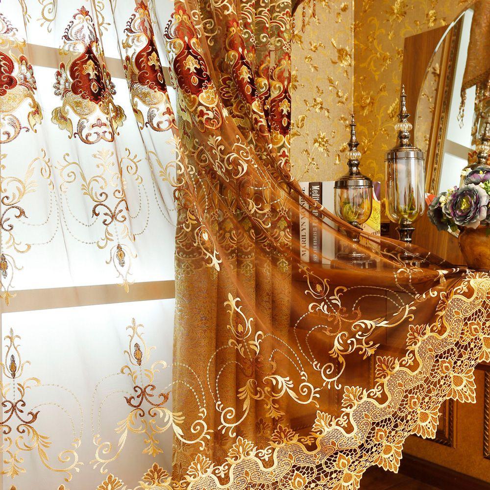 Europa Gold Luxus Villa Gestickte Vorhänge für Wohnzimmer ...