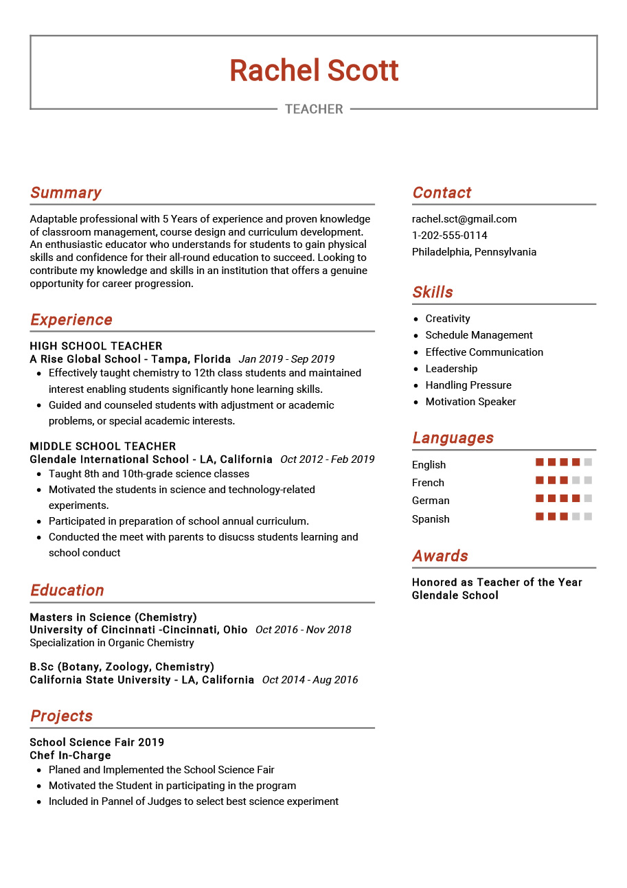 The Most Recommended Professional Teacher Sample Resume This Sample Resume Comes With Best Res Teacher Resume Examples Teacher Resume Template Teaching Resume