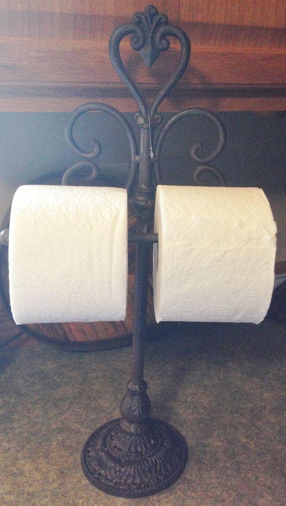 Brown Cast Iron Tabletop Hand Towel Toilet Paper Holder Rack Kitchen Bath