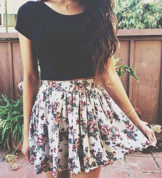 dress flowers short dress skirt blouse