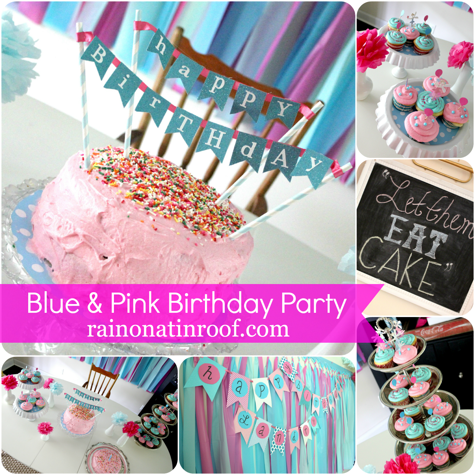 A Stylish Blue and Pink Birthday Party DIY party and Birthdays