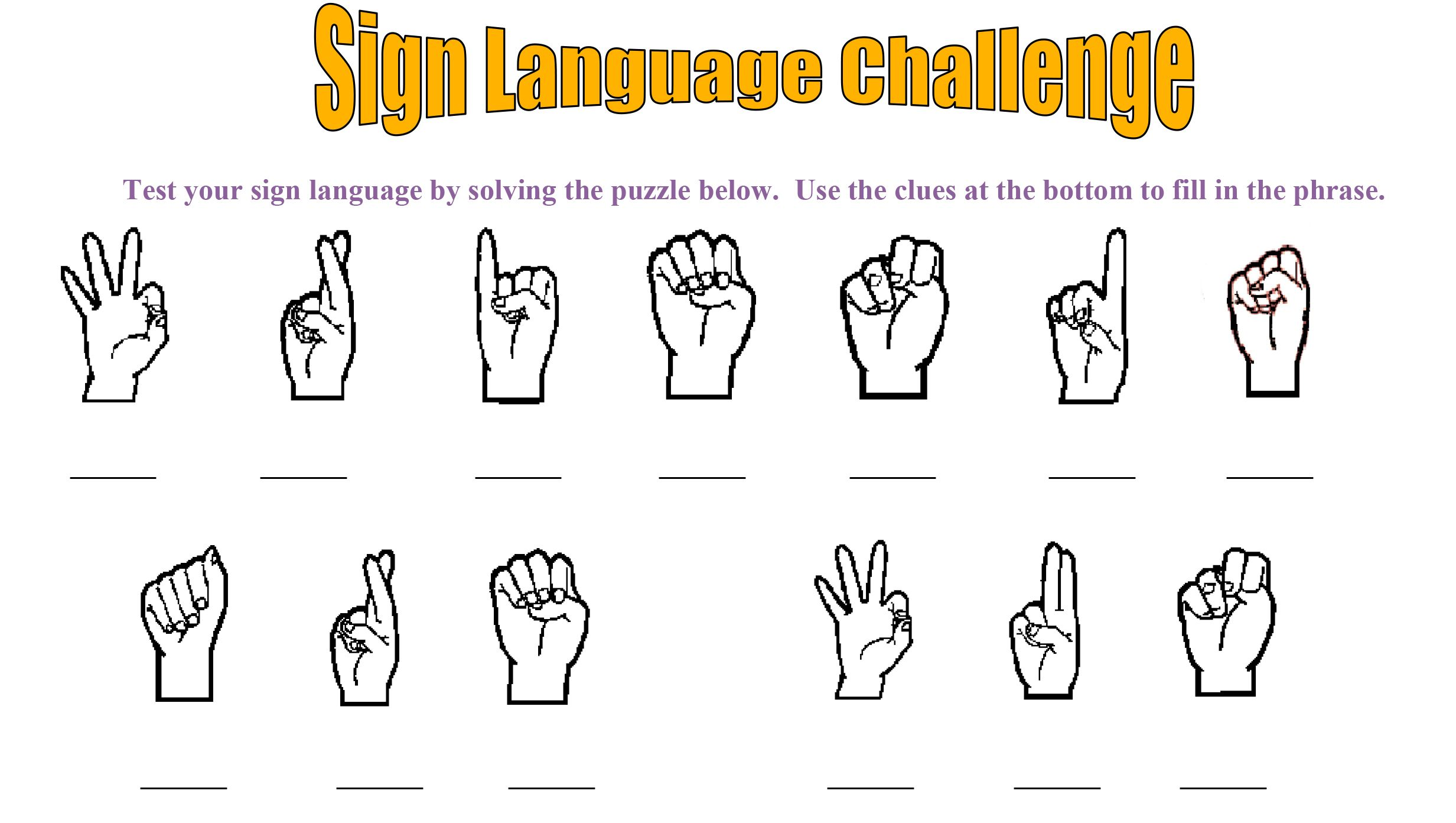 Disability Awareness Activity For Kids Sign Language