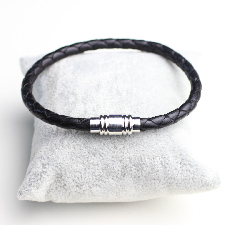 Bracelet Homme Cuir Veritable Noir Tresse Fermoir Aimante Bijoux Pour Hommes Par Elle Et Plume Bracelets Mens Bracelet Rope Bracelet