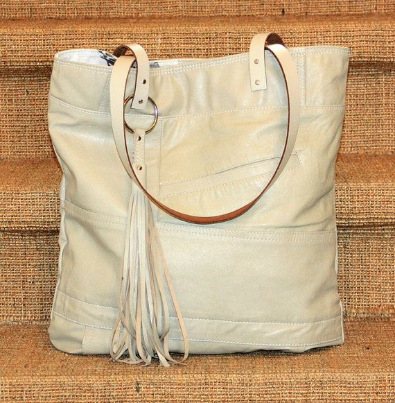 Photo of Shopper-Tasche aus Leder, handgefertigte Ledertasche, Hobo Bag, recyceltem Ledertasche, Ledertasche, Leder Tote, Lederhandtasche, wiederverwendete Ledertasche