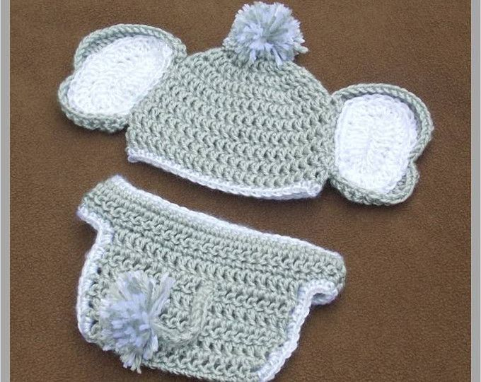 CROCHET PATTERN, Jeffery Jr. the Elephant Hat and Diaper cover Baby ...